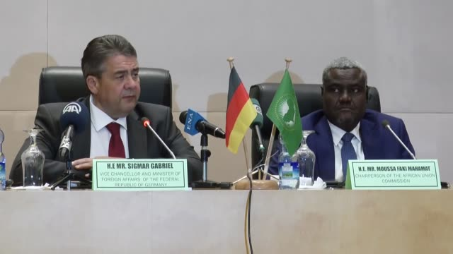 german foreign minister sigmar gabriel and chairperson of the african union commission moussa faki mahamat hold a joint press conference in addis... - chairperson stock videos & royalty-free footage