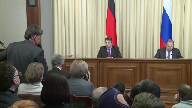 german foreign minister sigmar gabriel defends the policy of disarmament in europe during a press conference with his russian counterpart sergei... - disarmament stock videos and b-roll footage