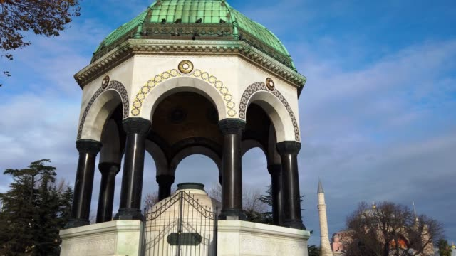 german fountain and hagia sophia on background - 18th century stock videos & royalty-free footage
