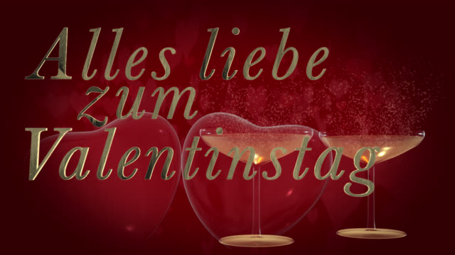 german happy valentine's day phrase, alles liebe zum valentinstag in gold 3d letters with two beating 3d red hearts and champagne glasses the bubbles from the champagne are heart shaped in the background are moving heart shaped particles - liebe stock videos & royalty-free footage