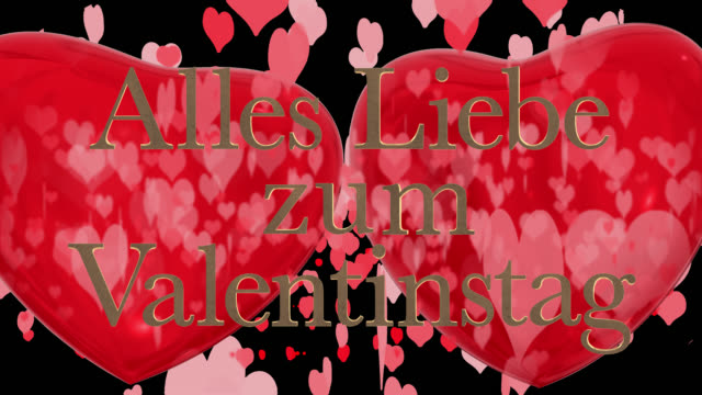 german happy valentine's day phrase, alles liebe zum valentinstag with two beating 3d red hearts and moving heart shaped particles are in the background saved with an alpha channel. - liebe stock videos & royalty-free footage