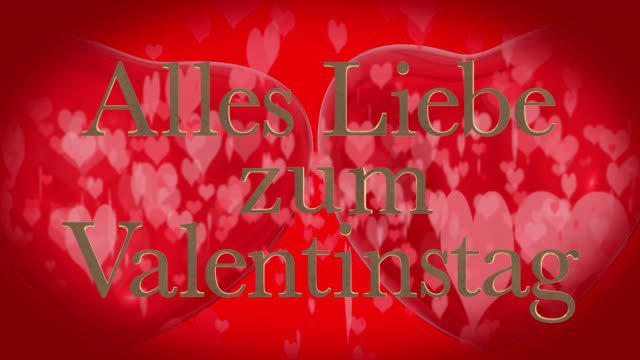 german happy valentine's day phrase, alles liebe zum valentinstag with two beating 3d red hearts and moving heart shaped particles are in the red background - liebe stock videos & royalty-free footage