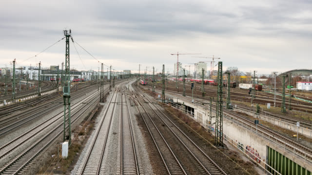german ice inter city express and regional trains - time lapse footage of leaving and arriving trains - day - schienenverkehr stock-videos und b-roll-filmmaterial