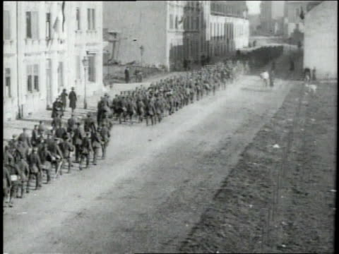 german infantry marching out of town / luxembourg - infantry stock videos & royalty-free footage