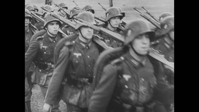 german infantry troops marching through rural area/ tanks tracks close up/ sovieet artillery firing - 1941 stock videos & royalty-free footage