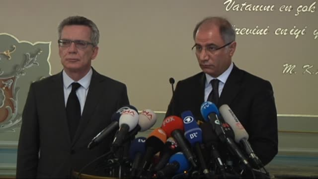 german interior minister thomas de maiziere holds a press conference with his turkish counterpart efkan ala on the explosion at istanbul's... - sultanahmet district stock videos and b-roll footage