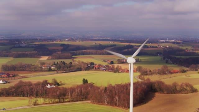 german landscape with wind turbine - aerial view - north rhine westphalia stock videos & royalty-free footage