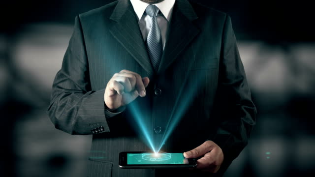 German Language Choose Businessman using digital tablet technology futuristic background