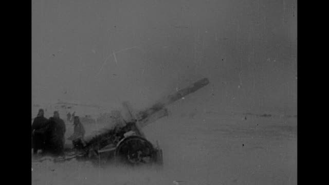 german line near voronezh, ussr, smoke ascending / vs soviet artillery guns firing, smoke ascending in distance / soviet infantry advances across... - infantry stock videos & royalty-free footage