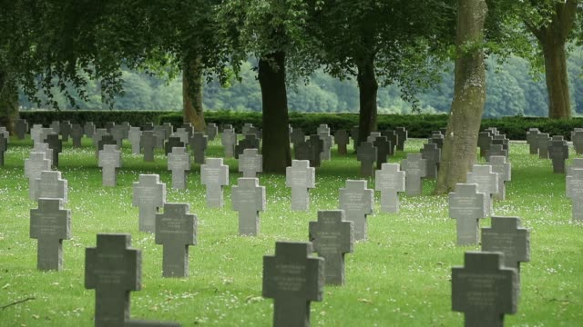 vidéos et rushes de a german military cemetery that contains the remains of 8625 german soldiers killed during world war i stands near belleau wood where 100 years... - cimetière