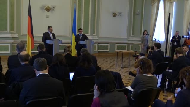 German Minister of Foreign Affairs Sigmar Gabriel speaks during a press conference with Ukrainian Minister of Foreign Affairs Pavlo Klimkin in Kiev...