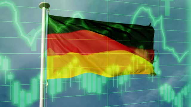 german national flag with positive growth chart and graph data. concept piece to indicate improving gdp, stock market crash, recession, depression, inflation, deflation, bull market, good national, economic and business performance - bull market stock videos & royalty-free footage