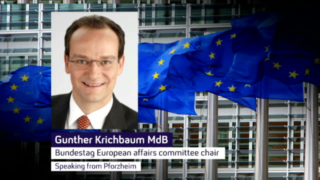 german parliamentarian talks of consequences of british withdrawl from the european union germany pforzheim gunther krichbaum mdb phono interview sot... - phono einzelwort stock-videos und b-roll-filmmaterial