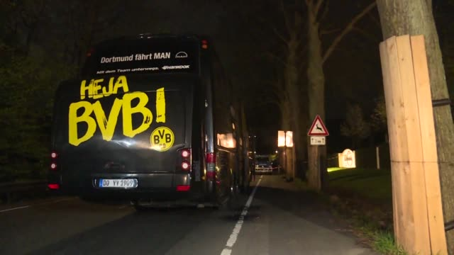 german police arrest the suspected perpetrator of a bomb attack on borussia dortmund's team bus indicating his motive was financial and not terror... - borussia dortmund stock videos and b-roll footage