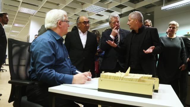 german president joachim gauck guatemalan ambassador to germany jose francisco cali tzay and roland jahn who is federal commisisoner of the bstu the... - east germany stock videos and b-roll footage