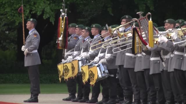 German President Joachim Gauck welcomes Jordan's King Abdullah II with military honors at Bellevue Palace in Berlin Germany on May 13 2015 Footage by...