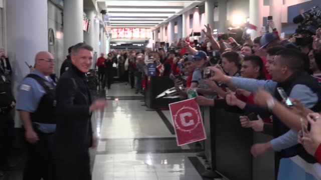 german soccer player bastian schweinsteiger is greeted by fans upon his arrival at the o'hare international airport in chicago, illinois, usa, on... - international team soccer stock videos & royalty-free footage