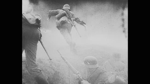 german soldiers charge out of trench - trench stock videos & royalty-free footage