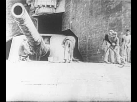 vídeos de stock e filmes b-roll de german soldiers dig in sand to fortify defenses on french coast during world war ii / giant artillery gun on beach under concrete bunker / montage... - nariz de animal