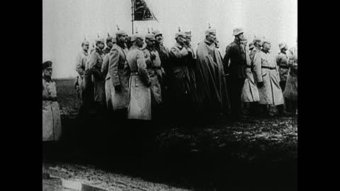 german soldiers marching. german officers standing. troops marching. officials, troops standing on field bg. wwi, invading belgium - world war one stock videos & royalty-free footage