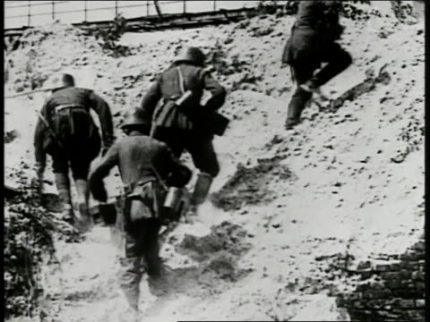 german soldiers walking over rocky hillside xws multiple explosions in open field lots of smoke possibly poison gas from 'white star' shells chemical... - toxic substance stock videos & royalty-free footage
