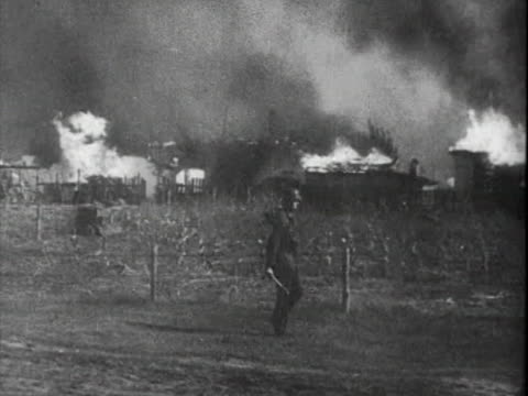 german soldiers walking through burning soviet village - german military stock videos & royalty-free footage