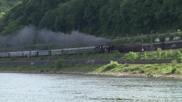 german steam locomotive 01 150 on the west rhine railway (rheinstrecke) - river rhine stock videos & royalty-free footage