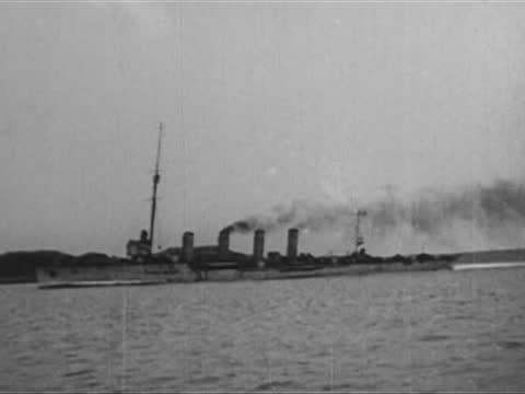 german submarine returning from raid and meets austro-hungarian cruiser heligoland - 1917 stock videos & royalty-free footage