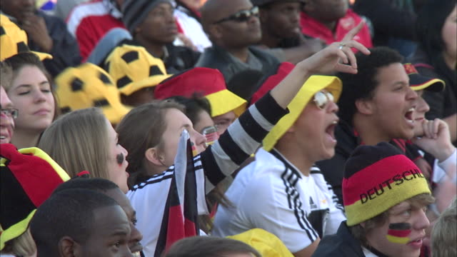 ws zo german supporters at 2010 world cup / johannesburg, gauteng, south africa - german culture stock videos and b-roll footage