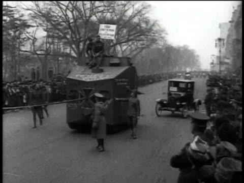 german tank replica moving in wwi parade / united states - german military stock videos & royalty-free footage