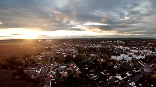 AERIAL : German town at Sunset