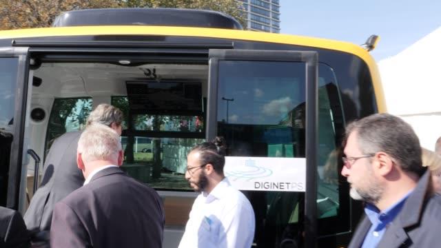 german transport minister andreas scheuer inspects an autonomousdriving bus who stands along a test route for autonomous vehicles on strasse des 17... - autonomous technology stock videos & royalty-free footage