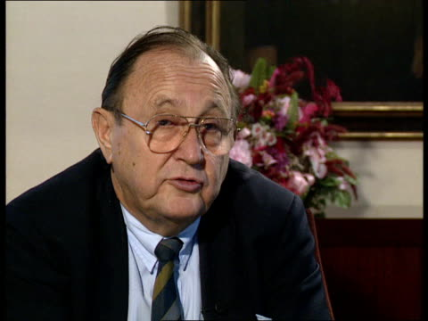 hans dietrich genscher profile; itn w germany: bonn: int john snow intws genscher about his start in life, his illness as a youth, and the way of... - romania stock videos & royalty-free footage
