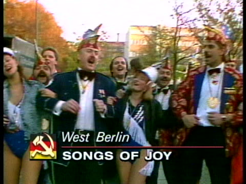 germans celebrate unification in west berlin - (war or terrorism or election or government or illness or news event or speech or politics or politician or conflict or military or extreme weather or business or economy) and not usa stock-videos und b-roll-filmmaterial