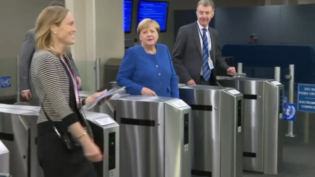 german's chancellor angela merkel, british prime minister boris johnson president of the european council donald tusk and other leaders arrive at the... - united nations stock videos & royalty-free footage