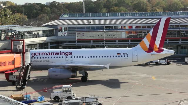 a germanwings gmbh airbus a319100 aircraft operated by deutsche lufthansa ag is towed at tegel airport operated by flughafen berlin brandenburg gmbh... - flughafen stock videos & royalty-free footage