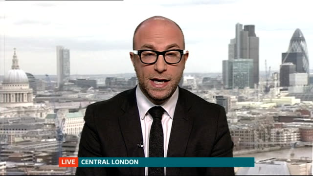 germanwings plane crashes in french alps leaving no survivors; england: london: gir: int anthony davis in central london live interview sot - ニナ・ホサイン点の映像素材/bロール