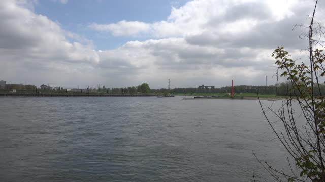germany barge on ruhr zoom in - ruhr video stock e b–roll