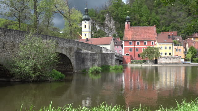 germany bridge and churches on inn at kallmunz - inn river stock videos and b-roll footage
