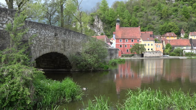germany bridge and kallmunz town on inn with duck - inn river stock videos and b-roll footage