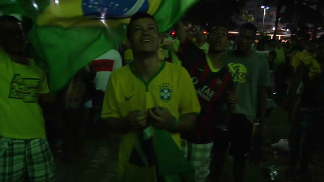 Germany defeated Brazil with a score of 71 and advanced to final in Sao Paulo Brazil on 9 July 2014 / Fans of Brazil get sad after the match...