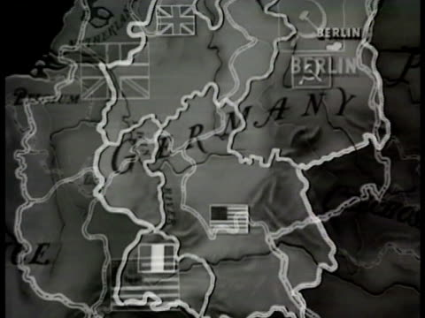 stockvideo's en b-roll-footage met germany divided into four controlled zones flags of british french usa soviet animated arrows showing british american access to sectors through... - 1948