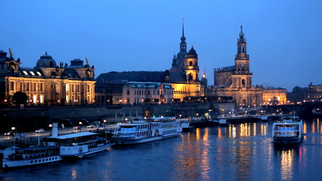 germany dresden city river elbe illuminated saxony church - riverbank stock videos & royalty-free footage