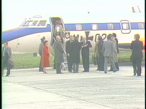 stockvideo's en b-roll-footage met germany foreign minister hansdietrich genscher deplanes in brussels germany for the upcoming european economic community summit the leaders of ten... - (war or terrorism or election or government or illness or news event or speech or politics or politician or conflict or military or extreme weather or business or economy) and not usa