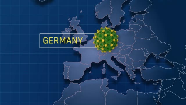 germany is pointed in world map while zoom in to coronavirus animation badge in 4k resolution - world politics stock videos & royalty-free footage