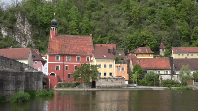 germany kallmunz houses and bridge on the inn - inn river stock videos and b-roll footage