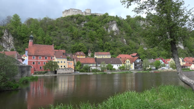germany kallmunz town on river inn below castle ruin - inn river stock videos and b-roll footage