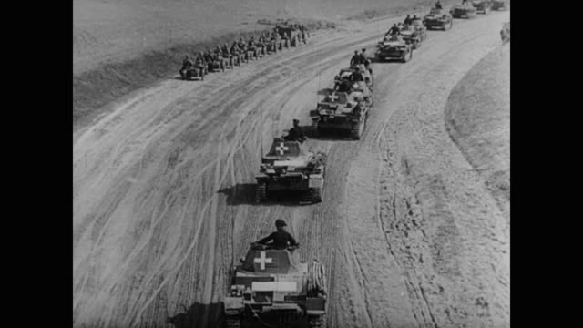 germany makes its way to the polish border as poland mobilizes its own troops showing the vast contrast in military might and preparedness for war - 1943 stock videos & royalty-free footage