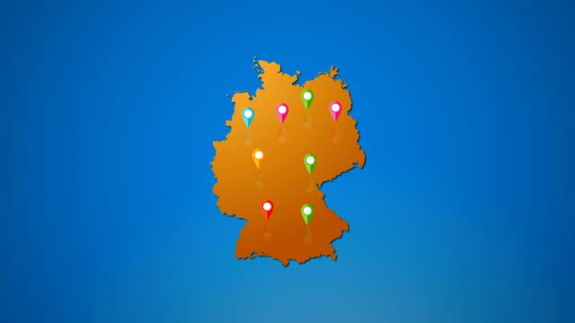 4k deutschland karte und lage - sehenswürdigkeit stock-videos und b-roll-filmmaterial