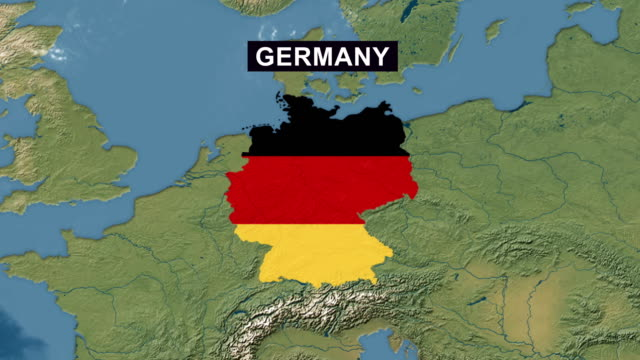 germany map with german flag, zoom in to germany terrain map from wide perspective view - german flag stock videos & royalty-free footage